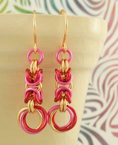 Pop With Color Earrings - Linked Loops I Chainmaille. $20.00, via Etsy.