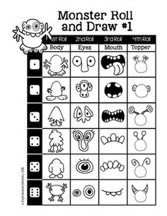 Early Finishers: Guided drawing ideas for drawing a monster by the roll of a die! Drawing For Kids, Art For Kids, Drawing Ideas, Drawing Art, Art Sub Plans, Art Handouts, Monster Drawing, Doodle Monster, Directed Drawing