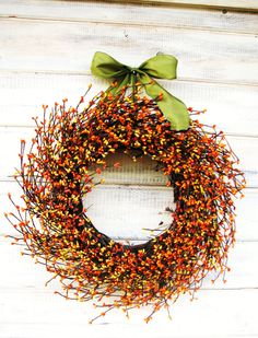 Fall Wreath-Fall Decor-Autumn Wreath-ORANGE & YELLOW Berry Wreath-Fall Door Decor-Thanksgiving Wreath-Holiday Decor-Choose Scent and Ribbon