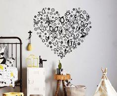 Romantic Heart Wall Decal Butterflies Vinyl Sticker Anti Stress Home Interior Kids Room Decor Wall Art 9(btf)