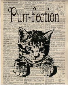 Vintage Dictionary Page Purr-fection by Cheryl Weaver