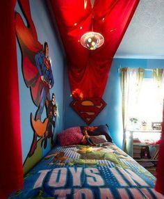 Bedroom , Kids Superhero Bedroom Ideas : Superhero Bedroom Ideas Superman Logo And Bedding And Wall Decals