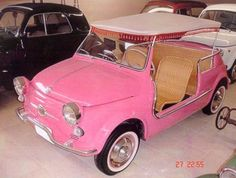OMG!!!  I have found my next car!!!  I WILL have this.  It will be mine.  A fiat 500 jolly 60.  Both Grace Kelly and Jackie O had one, which makes it necessary that I have it as well.