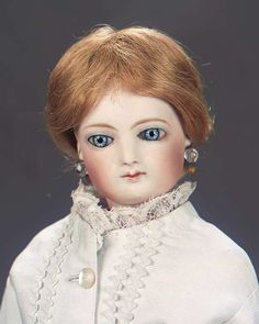 The Great Man's Doll: 394 French Bisque Poupee by Jumeau with Lovely Pique Gown