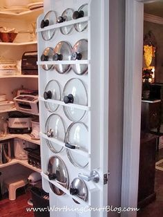 Store Pot Lids Behind Doors With This Easy Pantry Organization Idea - 9 Pantry Organization Ideas For A Less Messy-More Organized Life Pantry Storage, Pantry Organization, Organizing Ideas, Pantry Ideas, Door Storage, Storage Cabinets, Pot Lid Storage, Diy Cabinets, Organising