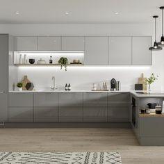 Modern Grey Kitchen, Grey Kitchen Designs, Gray And White Kitchen, Kitchen Room Design, Modern Kitchen Cabinets, Kitchen Cabinet Design, Modern Kitchen Design, Interior Design Kitchen, Kitchen Decor