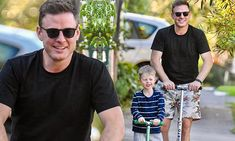 Adorable! Ben Fordham and lookalike son Teddy race scooters Look Alike, Scooters, Sons, Racing, Celebs, Mens Tops, Fashion, Running, Celebrities