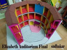 This is Elizabeth Auditorium,London model...I made for this to private school student with thermocole, cardboard, colour papers etc.