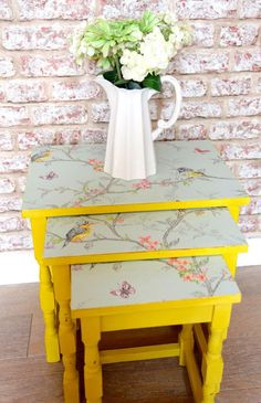 This gorgeous, bright nest of tables has been hand painted in the UK with Annie Sloan English Yellow which has been protected with a coat of