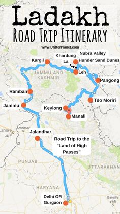 Ladakh Road Trip Itinerary Map – Delhi – Gurgaon – Jammu – Ramban – Kargil – Khardungla – Leh – Nubra Valley – Hunder – Pangong – Tso Moriri – Keylong – Manali We are want to say thanks if you like to share this post. Travel Tours, Travel Maps, Travel List, Asia Travel, Travel Destinations, Funny Travel, Srinagar, Agra, Road Trip Playlist