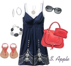 """Coral & Navy"" by sapple324 ❤ liked on Polyvore"