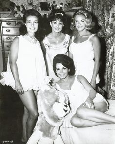Publicity photograph from the motion picture Pajama Party with (clockwise from center) Annette Funicello (on bed), Susan Hart, Donna Loren, and Cheryl Sweeten...