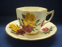 Royal Eton Cup & Saucer Dark Pink Yellow Roses Bone China England