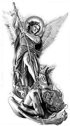 Archangel Michael Tattoo, St Michael Tattoo, Michael Angelo Tattoo, Angel Warrior Tattoo, Warrior Tattoos, Chest Tattoo Angel, Tattoo Sleeve Designs, Sleeve Tattoos, Christus Tattoo