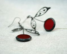 Red cherries earrings,  filligree leaf, stained glass, statement jewelry