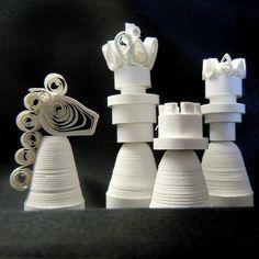 Paper Quilled Art Roundup | MAKE: Craft | Paper Chess Set