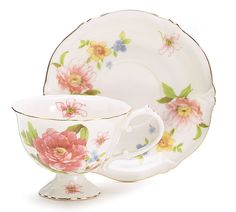 Beautiful Garden Teacup and Saucer