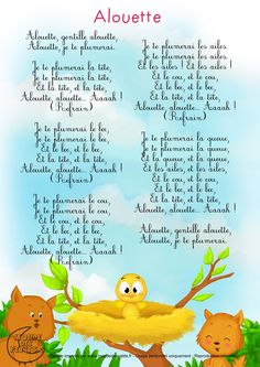 ( Alouette = Lark ) - Français Plus Study French, French Kids, French Language Lessons, French Lessons, Teaching French, French Poems, French Nursery, Learn To Speak French, French Tips