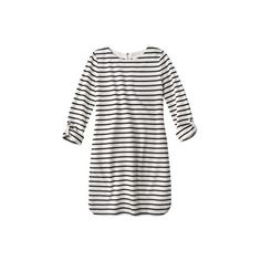 Merona Women's French Terry Dress - Stripes (78225 PYG) ❤ liked on Polyvore featuring dresses, tops, vestidos, women's clothing, 3/4 sleeve dresses, zip dress, sheer sleeve dress, three quarter sleeve dress and french terry dress