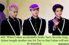 Sehun is sooo sweet!!! I don't think I would want to be punished by Tao....unless I'm feeling kinda kinky... ;)LOL jk jk XD