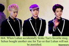 Sehun is sooo sweet!!! I don't think I would want to be punished by Tao....unless I'm feeling kinda kinky... ;)LOL jk jk XD