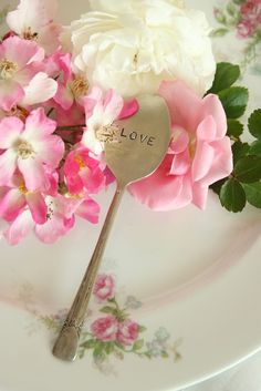 Items similar to Vintage silverware LOVE cupcake topper recycled silver plated flatware beachhouseliving on etsy on Etsy Vintage Shabby Chic, Shabby Chic Decor, Pink Geranium, Love Cupcakes, Perfume, Romantic Roses, Romantic Cottage, Rose Cottage, Be My Valentine