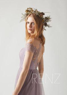Bridesmaid Dress Dark Mauve Tulle Wedding DressCap Sleeves