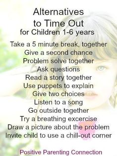 Alternatives to time-out's for kids 1-6 years old