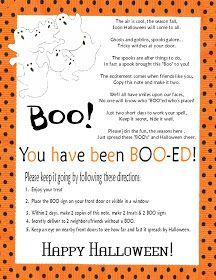 """""""You've been Boo-ed"""" poem and direction printables.        Been Booed PDF Printable click here     Have fun and Happy Halloween!    If y..."""