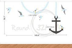 Nautical Anchor Wall Decal With Seagulls  Customizable by Round321, $85.00