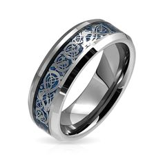 bling jewelry celtic dragon blue inlay tungsten wedding ring 8mm with free engraving engraving instructions