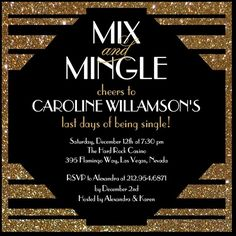 signature white bachelorette party invitations mix and mingle front black - Gatsby Party Invitation