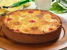 Receta de Pastel Volteado de Piña con Cerezas