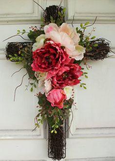 """Floral Cross Wreath Decor - 21"""" tall. via Etsy."""