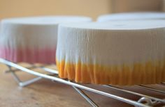 Watercolor Streamers  Supplies:  glass bowls  cooling racks  food coloring  water  white party streamers  Fill bowls with ~1 1/2 cups water  Add food coloring to water (~15 ea color, depending on desired intensity)  Place entire roll in bowl to absorb water  Dry dyed paper on cooling racks a few days  Tips:  crepe paper absorbs water quickly & will get soggy/unusable if too much water is used  Buy extra white crepe paper rolls & test your method/color saturation to increase/decrease as…