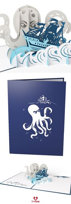 Delight any seafarer with a Pop up birthday card of the mythical Kraken and a ship caught in it's grasp. #sailaway #paperart