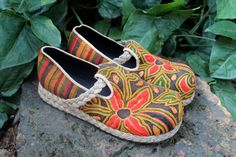 Vegan Womens Loafers Ethnic Laos Tribal Textiles by Siamese Dream Design,
