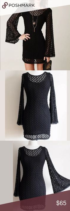 "Free People Gypsy crocheted dress! Gorgeous bodycon dress with crochet lace overlay and wide bell sleeves.  Fully lined, with deep back scoop.  Measures 17"" pit to pit flat laid and is 34"" in length.  12211116 Free People Dresses Mini"