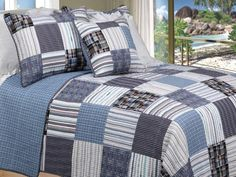 Bring a charming cottage feel to your bedroom decor with this three-piece quilt set. This homey Americana patchwork quilt set serves as a beautiful focal point in your bedroom or guest room. This cott Queen Size Quilt Sets, King Quilt Sets, Teen Boy Bedding, Boys Bedding Sets, Twin Beds For Boys, Plaid Quilt, Plaid Bedding, Denim Quilts, Shirt Quilts
