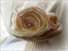 Wedding Headband  Madison  Champagne & Ivory Chiffon RainwaterStudios   $55.00