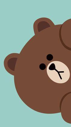 Wallpaper Iphone Cute, Brown Wallpaper, Tumblr Wallpaper, Wallpaper S, Friends Wallpaper, Kawaii Wallpaper, Lock Screen Wallpaper, Animal Wallpaper, Line Brown Bear