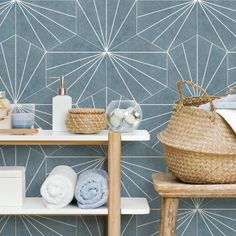 Our Aster Hex 8 5/8 x 9 7/8 Patterned Tile in Azul is the perfect tile for your next bathroom remodel! The Porcelain Floor and Wall Tiles offers geometric minimalism reminiscent of mid-century modern design. It retails starting $11.99 SQ FT.