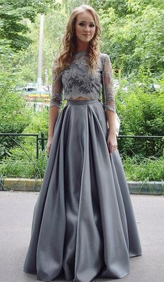 Two Piece Prom Dresses,3/4 Sleeves Prom Dresses,Grey Prom Dresses,Prom Dresses 2017