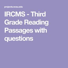 IRCMS - Third Grade Reading Passages with questions