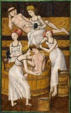 Knihovna Národního muzea v Praze; Praha; Česká republika, IV.B.24, f. 78v ('Monks in the bath'). Jenský kodex Antithesis Christi et Antichristi, 1490-1510.