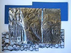 This is a foil embossing project, known as repoussé, that I did with a Grade 11 IB class. It requires designing a highly detailed image o. Tin Foil Art, Tin Art, Sharpie Colors, Recycling, Metal Embossing, Whole Image, High School Art, Middle School, Arts Ed