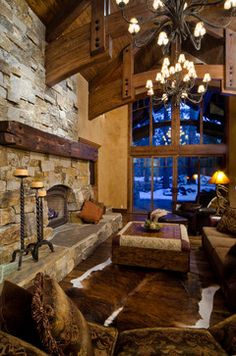 candles on hearth    Custom Lodge Home in Caldera Springs - traditional - living room - other metro - Patty Jones Design, LLC