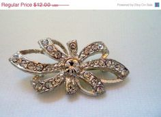 Limited Time Sale Vintage Clear Rhinestone by SmallTownVintageShop, $10.20