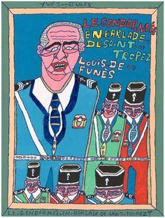Yves-Jules Fleuri (1960), France  Le gendarme de Saint-Tropez, between 2000 and 2008  felter pen and oil on paperboard  73 x 55 cm  © photo credit  Collection de l'Art Brut, Lausanne