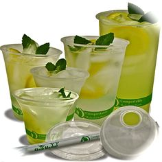 Compostable cold clear cups made from plant starch not oil, completely compostable. 5,7,12,16,20 and 24 oz .  Flat and dome lids available.